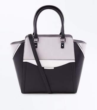 fd9e11ce4b New Look Black Colour Block Structured Tote Bag