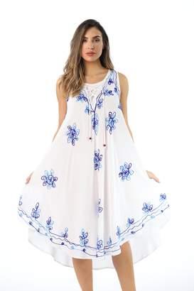 03874495eed Riviera Sun 21808-BLU-XL Dress Dresses for Women White Blue