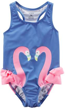 Carter's Toddler Girl Flamingo Rufled One Piece Swimsuit
