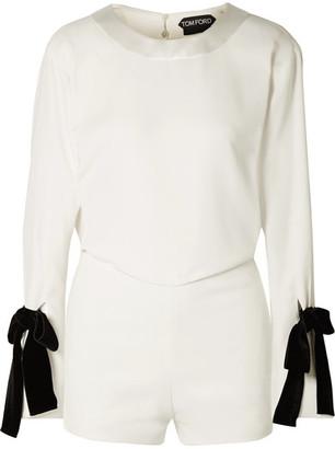 Tom Ford Velvet Bow-embellished Draped Crepe Playsuit - White