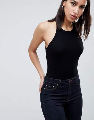 Asos Design DESIGN high neck cutaway body in rib in black