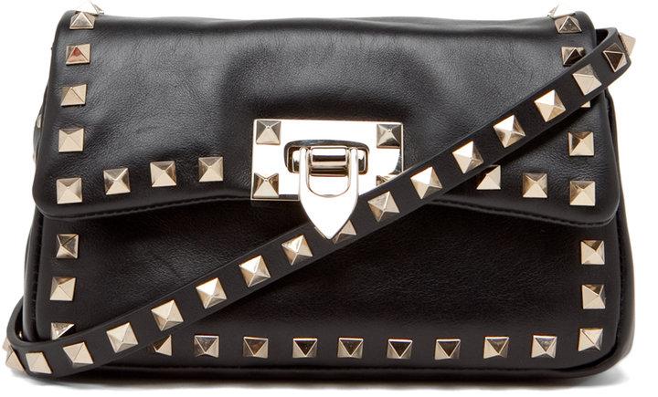 Valentino Rockstud Flap Bag in Black