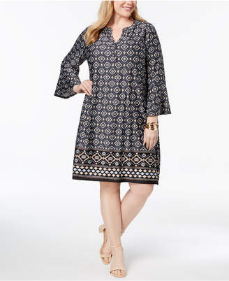 NY Collection Plus & Petite Plus Size Printed Shift Dress
