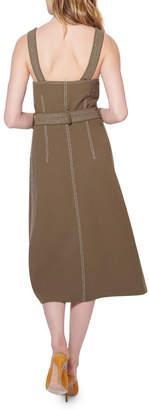 Veronica Beard Adora Belted Button-Front Midi Dress