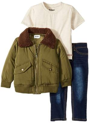 Hudson Poly Puffer Jacket with Sherpa Collar, Oatmeal Heather Jersey Tee, Stretch Denim Jeans Boy's Active Sets