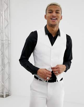 Design DESIGN super skinny suit waistcoat in white