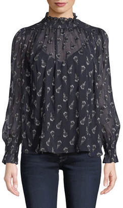 BA&SH Malawi High-Neck Floral Long-Sleeve Top