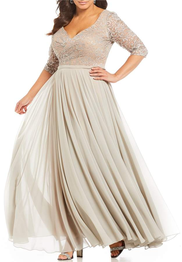 Terani Couture Plus Size V Neck 3/4 Sleeve Lace Bodice Gown