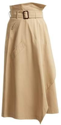 Max Mara Paperbag Waist Cotton Midi Skirt - Womens - Tan