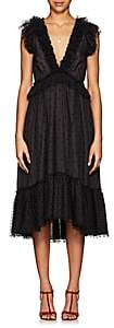 Ulla Johnson Women's Beckett Ruffle-Trimmed Dotted Midi-Dress-Black