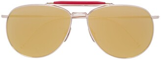 Thom Browne Eyewear Gold Aviators With Mirrored Lens