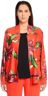 Marina Rinaldi Floral Printed Jersey Bomber Jacket