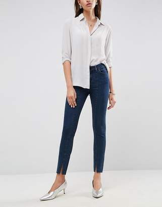 Asos Lisbon Mid Rise Skinny Jeans In Amelie Darkwash With Vent Hem