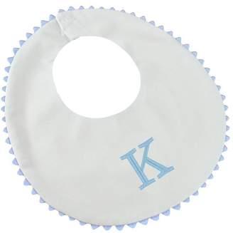 Princess Linens Garden Pique Bib, 2-pack - White with Baby Blue Rick Rack Trim-K