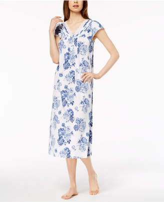 Charter Club Cotton Knit Lace-Trim Nightgown, Created for Macy's