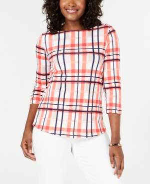 Charter Club Pima Cotton Plaid 3/4-Sleeve Cotton Top, Created for Macy's