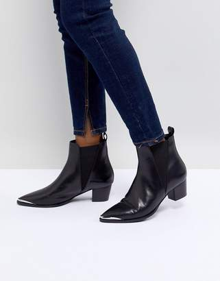 Office Azalea Black Leather Western Tipped Boots