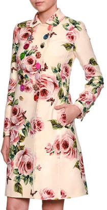 Dolce & Gabbana Rose-Print Double-Breasted Wool Top Coat w/ Jeweled Buttons