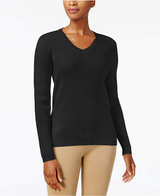 Karen Scott Cotton V-Neck Sweater