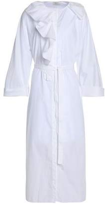 Nina Ricci Ruffled Cotton-Poplin Midi Shirt Dress