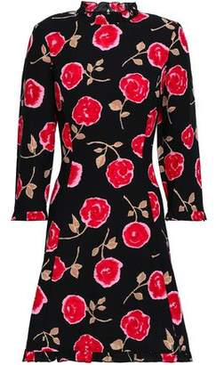 Kate Spade Ruffle-trimmed Floral-print Cady Mini Dress