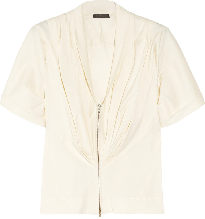 Donna Karan Pleated stretch cotton-blend blouse