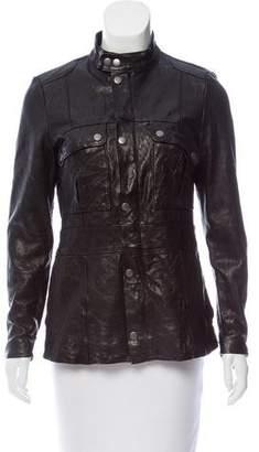 Frame Mock Neck Leather Jacket