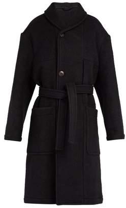Lemaire - Shawl Collar Melton Wool Coat - Mens - Black