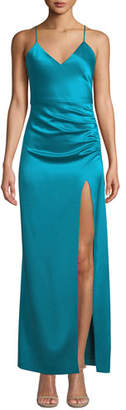 Alice + Olivia Fallon Ruched Sleeveless Gown