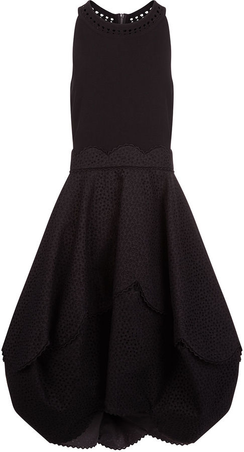 Antonio Berardi Black Sleeveless Lace Skirt Dress