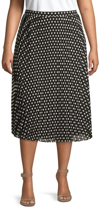 Calvin Klein Collection Plus Pleated Polka Dot Midi Skirt