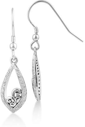 Lois Hill Sterling Silver Filigree & Pave Diamond Teardrop Earrings - 0.16 ctw