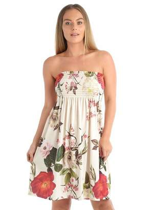 My Mix Trendz Womens Floral Rose Print Summer Gathered Bandeau Boob tube Sheering Tops 8-22