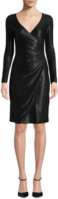 Emporio Armani Long-Sleeve Metallic Mesh Wrap Dress