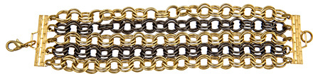 Bee Charming Two Tone Gold Chain Link Bracelet