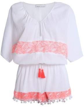 Tasseled Embroidered Cotton-Gauze Playsuit