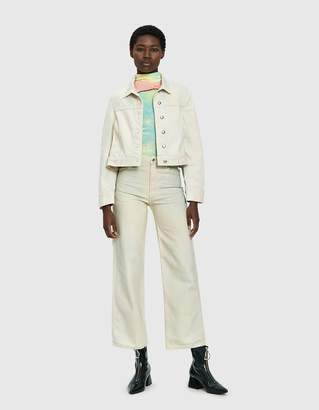 Eckhaus Latta Cropped Denim Jacket in Soft Watercolor