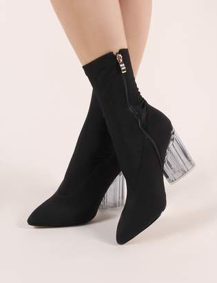 Public Desire Liana Round Perspex Heel Knitted Ankle Boots