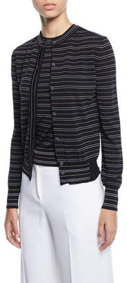 Piazza Sempione Striped Button-Front Cardigan