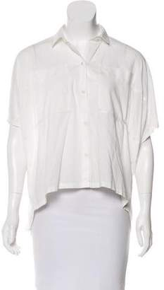 Halston High-Low Button-Up Top