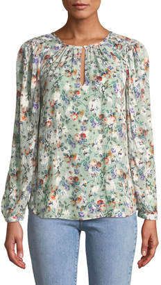 Rebecca Taylor Ruby Long-Sleeve Silk-Blend Floral Blouse