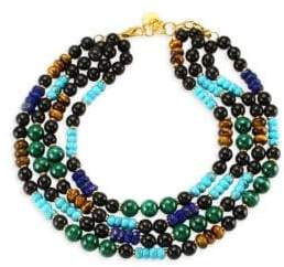 Nest Malachite, Turquoise, Lapis& Horn Collar Necklace