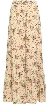 RED Valentino Floral-printed Stretch-silk Chiffon Wide-leg Pants
