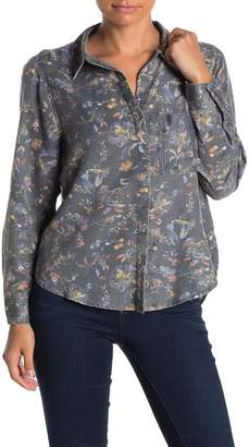 Susina Floral Button Front Shirt (Regular & Petite)