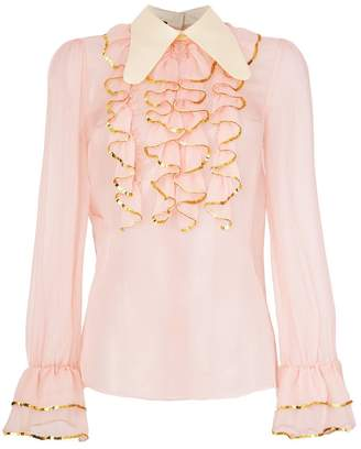 Gucci sheer sequin trim ruffle blouse