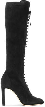 Desiree Lace-up Suede Knee Boots - Black
