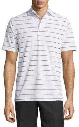 Peter Millar Performance Striped Short-Sleeve Polo Shirt, White $85 thestylecure.com