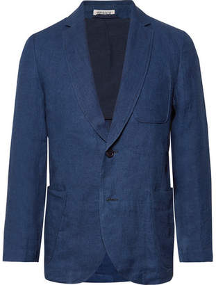 Blue Blue Japan Slim-Fit Unstructured Indigo-Dyed Linen-Twill Blazer