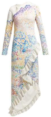 Mary Katrantzou Lenda Mountain Print Asymmetric Dress - Womens - Multi