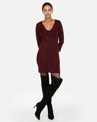 Express Fitted Jacquard Metallic Sweater Dress